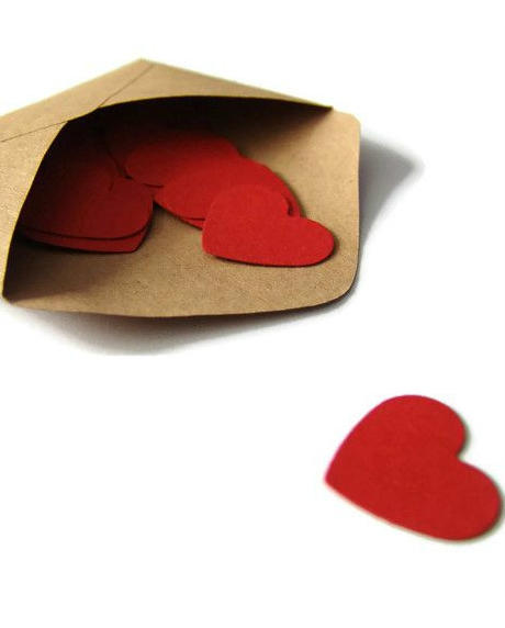 Confetti inimioare rosu grena 2,5 cm set 50 buc