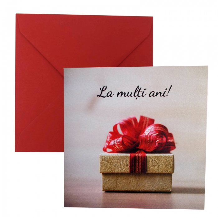 Felicitare Cracun cutie crem cu funda rosie 0