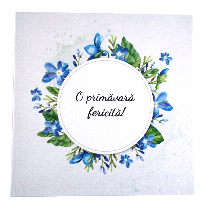 Felicitare martie coronita flori albastre 1
