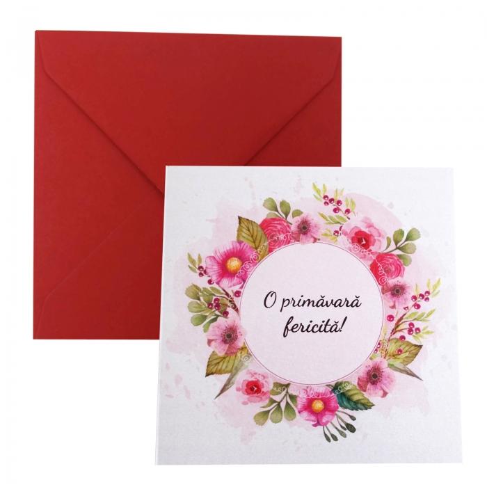 Felicitare martie coronita flori roz