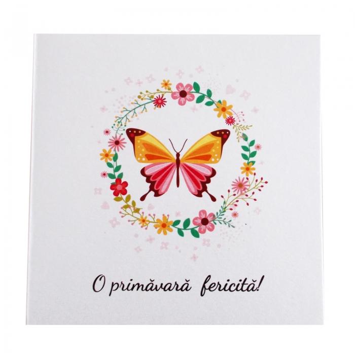 Felicitare martie coronita flori si fluture