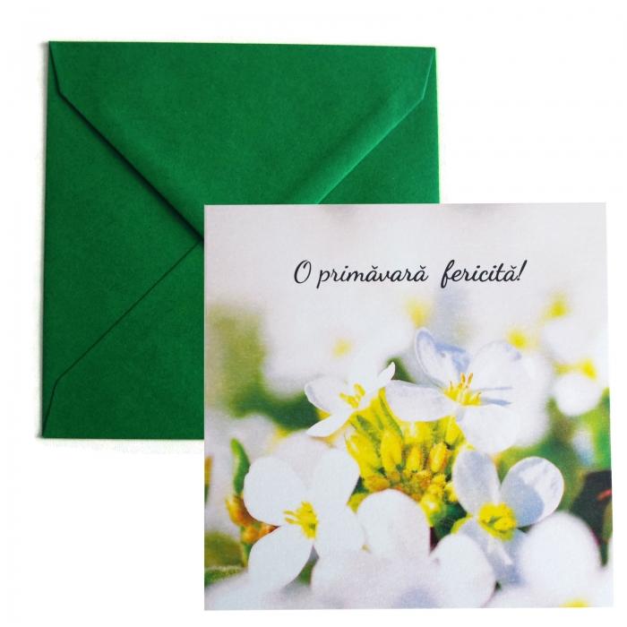 Felicitare martie flori albe 0
