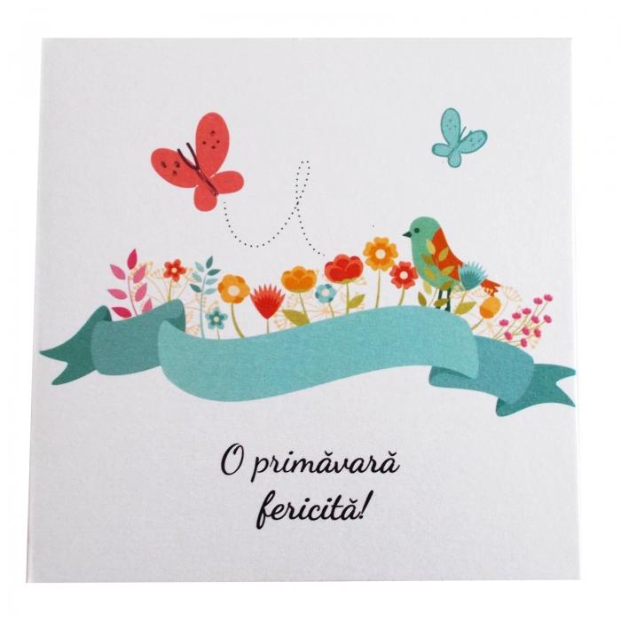 Felicitare martie flori si fluturasi