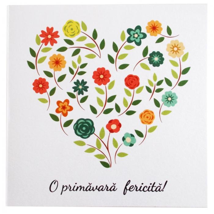 Felicitare martie inima flori
