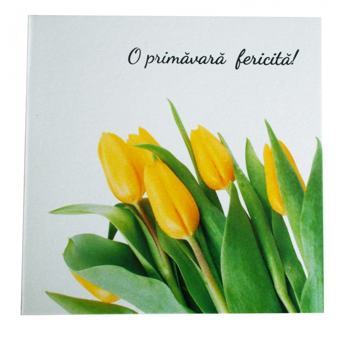 Felicitare martie lalele galbene