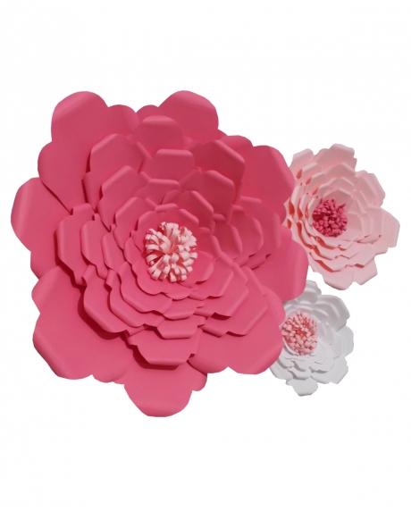 Flori deco hartie ciclam roz alb