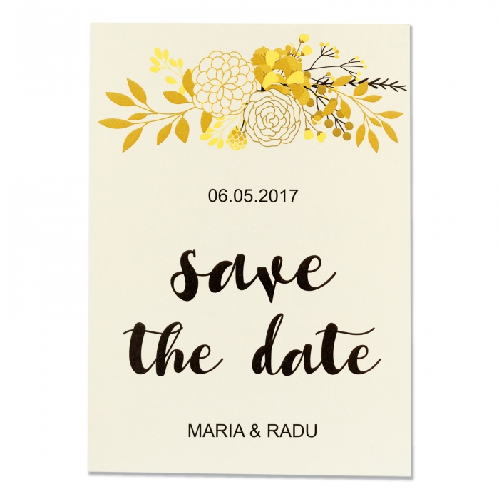 Invitatie nunta flori gold