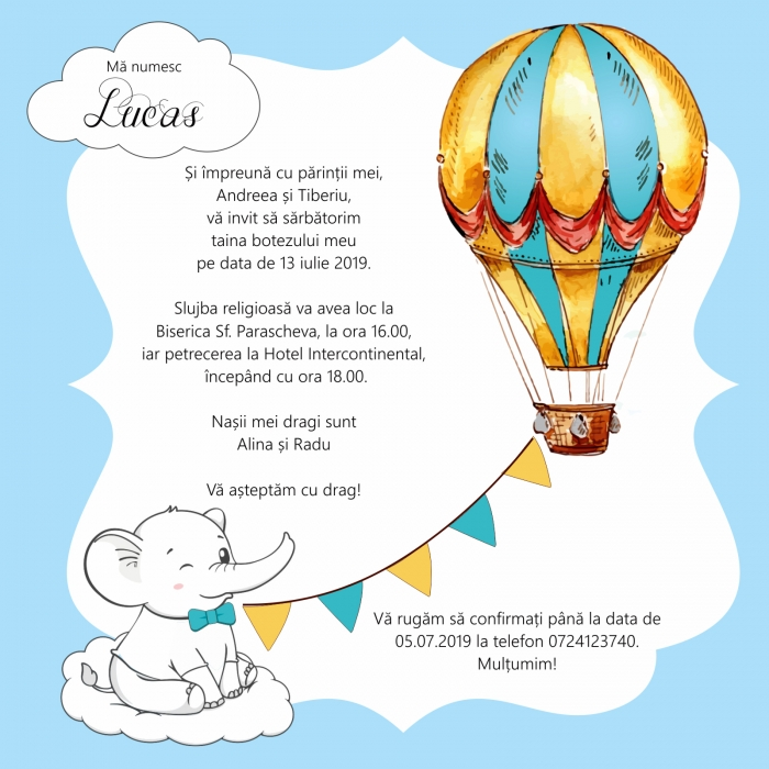 Invitatie electronica botez elefantel si balon