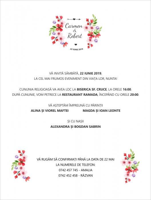 Invitatie electronica nunta floricele rosii