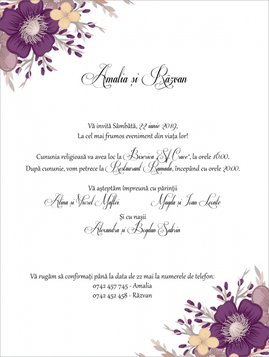 Invitatie electronica nunta flori mov 0