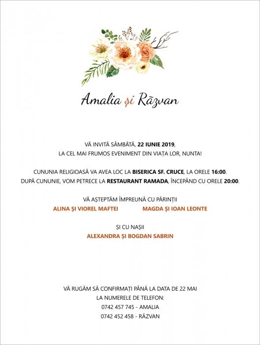 Invitatie electronica nunta flori crem 0