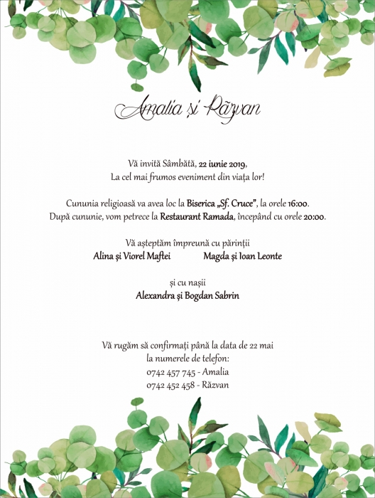 Invitatie electronica nunta frunzulite eucalipt 0