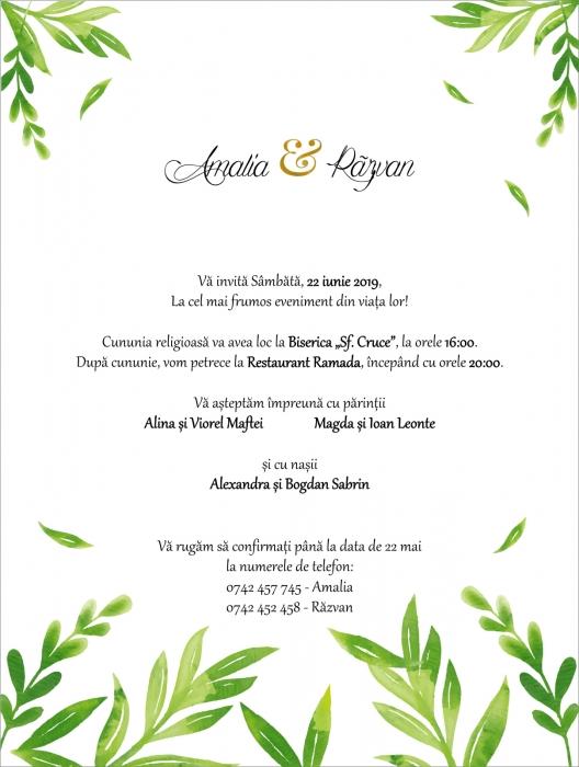 Invitatie electronica nunta frunzulite verzi