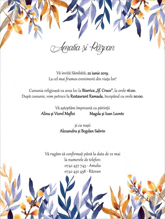 Invitatie electronica nunta frunzulite multicolore