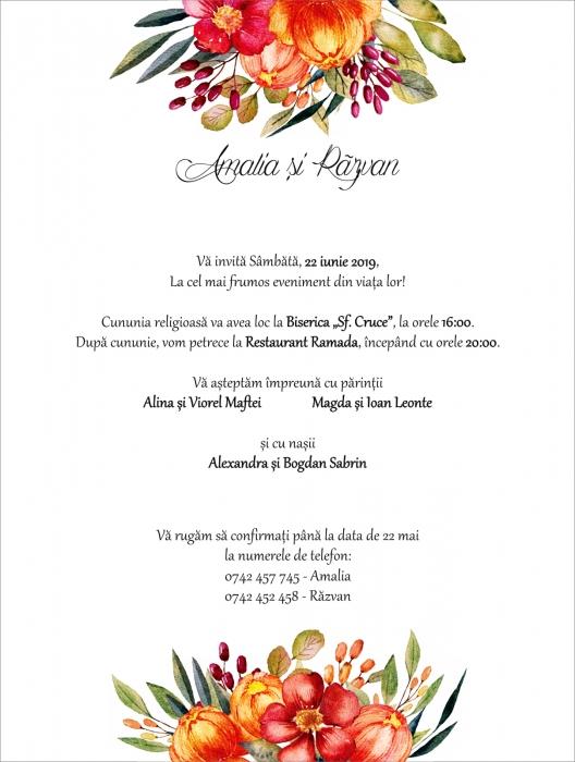 Invitatie electronica nunta flori multicolore