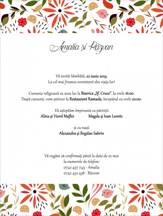 Invitatie electronica nunta pattern floral