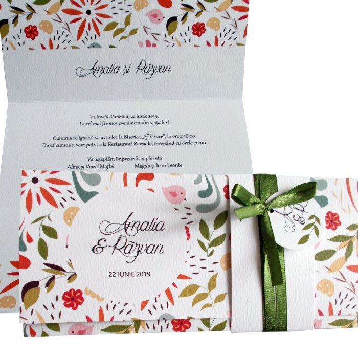 Invitatie nunta pattern floral 0