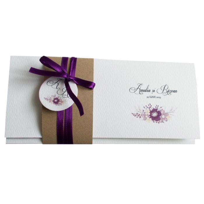 Invitatie nunta floare mov