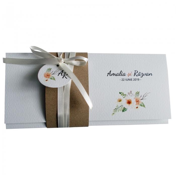 Invitatie nunta flori crem 2