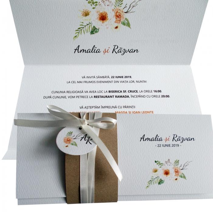 Invitatie nunta flori crem 0
