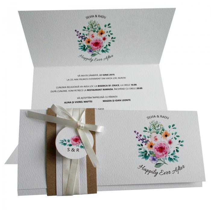 Invitatie nunta flori multicolore