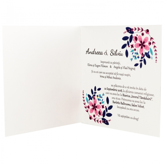 Invitatie nunta flori mov mici