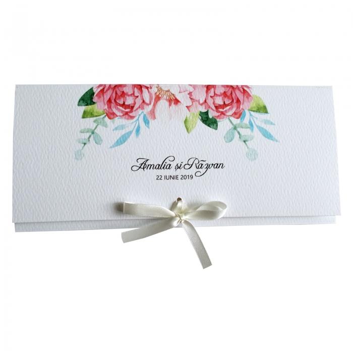 Invitatie nunta flori roz