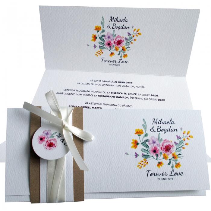 Invitatie nunta flori roz si galbene 0