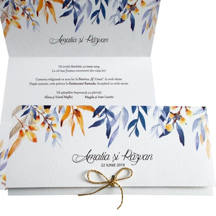 Invitatie nunta frunze colorate 0