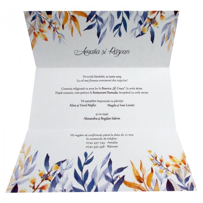 Invitatie nunta frunze colorate