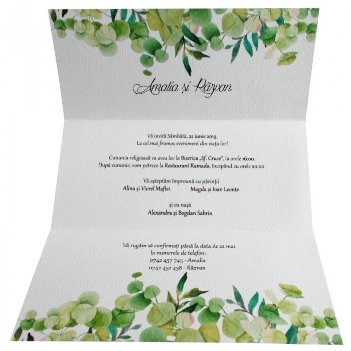 Invitatie nunta frunze verzi 2