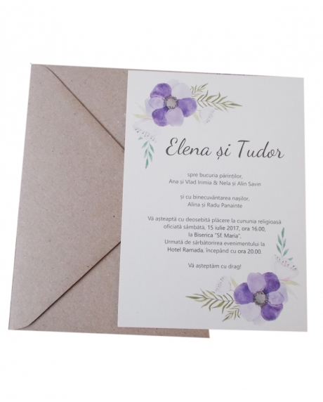 Invitatie nunta flori mov