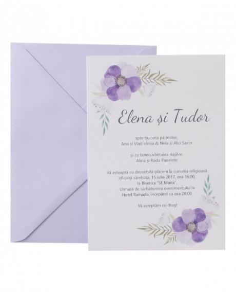 Invitatie nunta flori mov 0