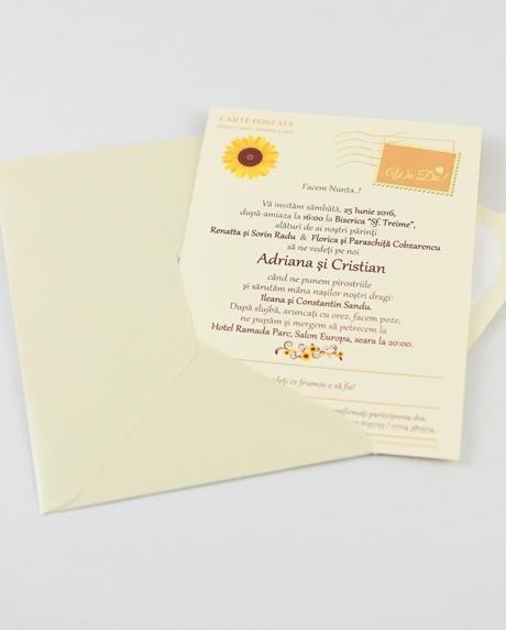 Invitatie nunta tip postcard