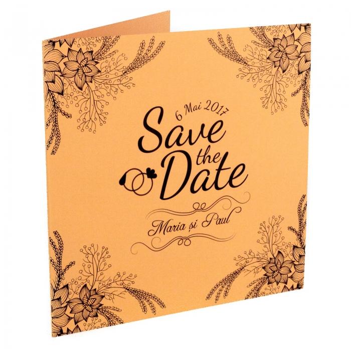 Invitatie nunta somon cu flori si spice