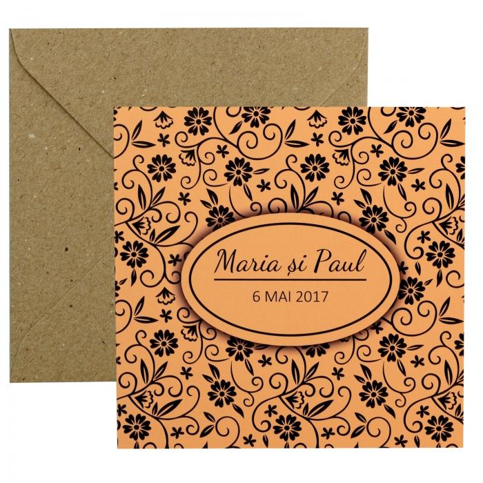 Invitatie de nunta somon cu pattern floral 3