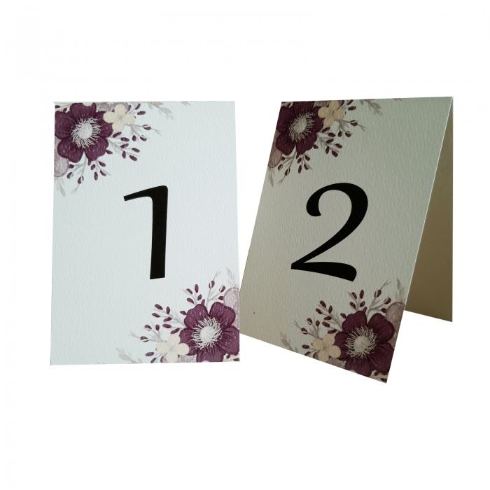Numere mese nunta cu floare mov