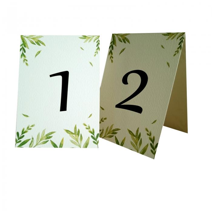 Numere mese nunta cu frunzulite verzi