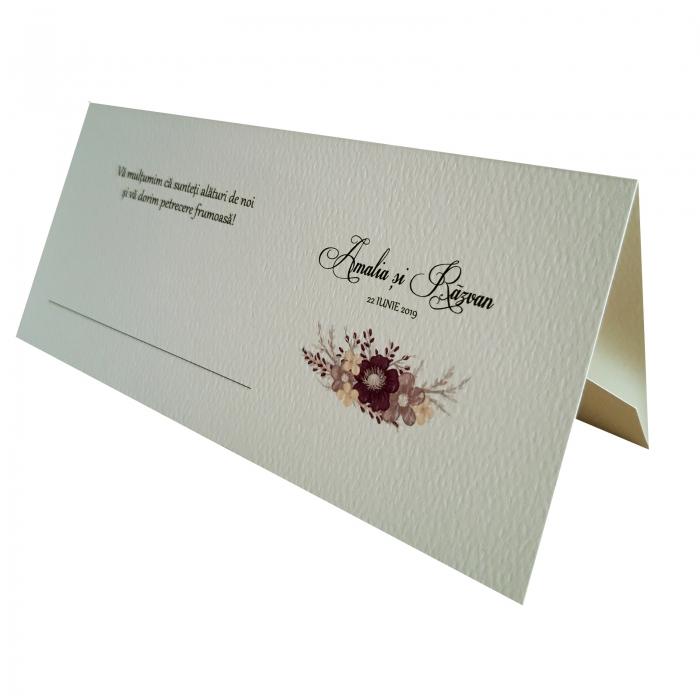 Place card - plic de bani - nunta cu floare mov