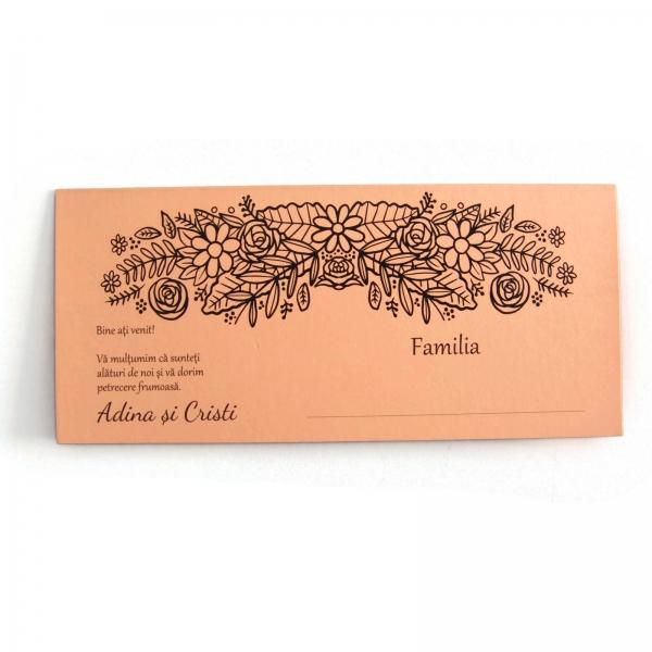 Place card somon cu motive florale