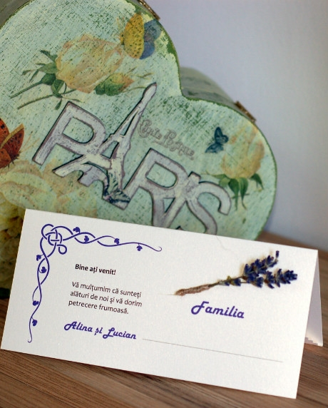 Place card nunta set lavanda