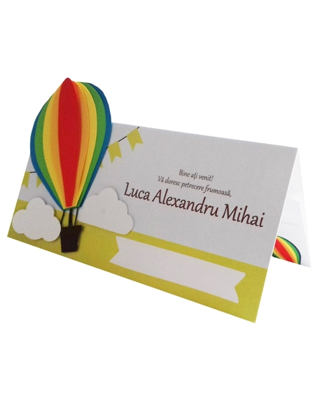 Place card botez Micul explorator multicolor