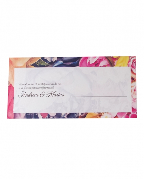 Place card floral dark background