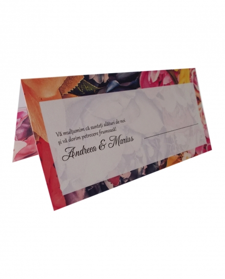 Place card floral dark background 2
