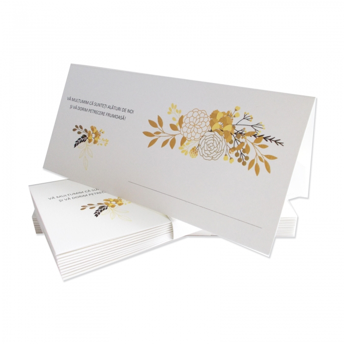 Place card nunta flori gold and black