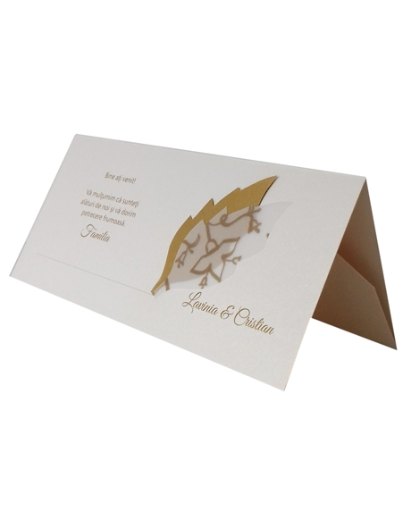 Place card nunta cu frunzulite aurii 0