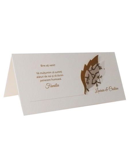 Place card nunta cu frunzulite aurii 2