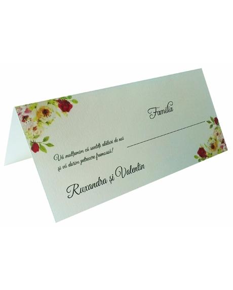 Place card floral trandafiri