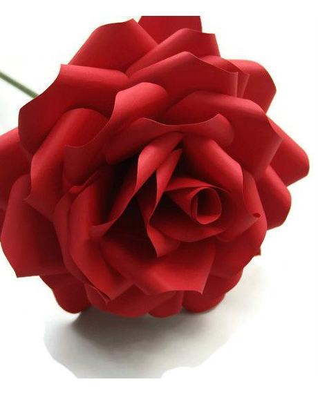 Trandafir rosu grena, din hartie, 20 cm