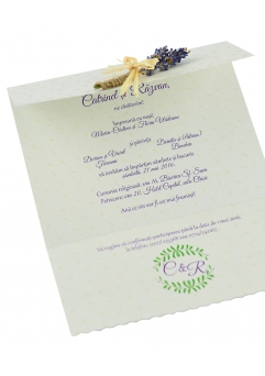 Invitatie nunta lavanda si iedera